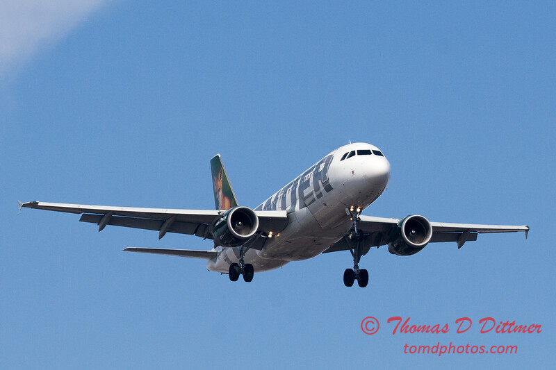 1 - A Frontier Airlines Airbus A319 approaches Central Illinois Regional Airport to land - Bloomington Illinois - Friday March 7th 2014