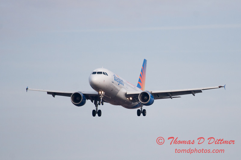 52 - Allegiant Airways approaches Runway 29 for landing at Central Illinois Regional Airport - Bloomington Illinois - Sunday March 9th 2014