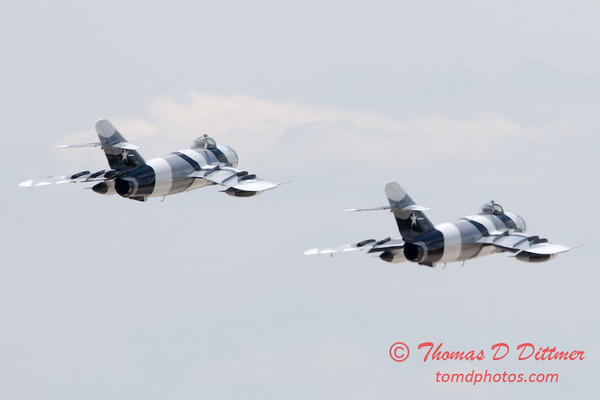 723 - The Mig 17 Formation Departure of the Black Diamond Jet Team at the 2012 Rockford Airfest - Chicago Rockford International Airport - Rockford Illinois - Sunday June 3rd 2012