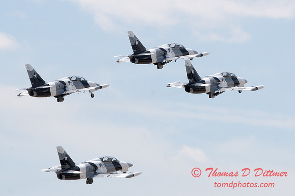 708 - The L39 Formation Departure of the Black Diamond Jet Team at the 2012 Rockford Airfest - Chicago Rockford International Airport - Rockford Illinois - Sunday June 3rd 2012