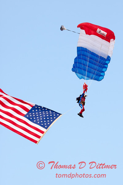 111 - Liberty Parachute Team member descends into Wings over Waukegan 2012