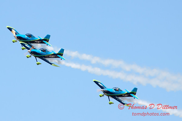 121 - The Vanguard Squadron perform in their ethanol powered RV3's at the South East Iowa Air Show in Burlington Iowa