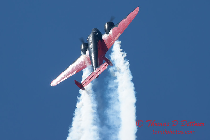 "874 - Matt Younkin performs for fans in his Beechcraft BE18 ""Twin Beech"" at the South East Iowa Air Show in Burlington Iowa"