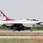 1214 - US Air Force Thunderbirds return to earth after their Sunday performance in F16 Fighting Falcons at the 2012 Rockford Airfest - Chicago Rockford International Airport - Rockford Illinois - Sunday June 3rd 2012