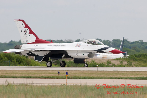 1205 - US Air Force Thunderbirds return to earth after their Sunday performance in F16 Fighting Falcons at the 2012 Rockford Airfest - Chicago Rockford International Airport - Rockford Illinois - Sunday June 3rd 2012
