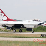 1219 - US Air Force Thunderbirds return to earth after their Sunday performance in F16 Fighting Falcons at the 2012 Rockford Airfest - Chicago Rockford International Airport - Rockford Illinois - Sunday June 3rd 2012