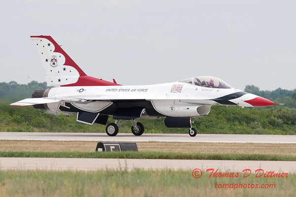 1220 - US Air Force Thunderbirds return to earth after their Sunday performance in F16 Fighting Falcons at the 2012 Rockford Airfest - Chicago Rockford International Airport - Rockford Illinois - Sunday June 3rd 2012