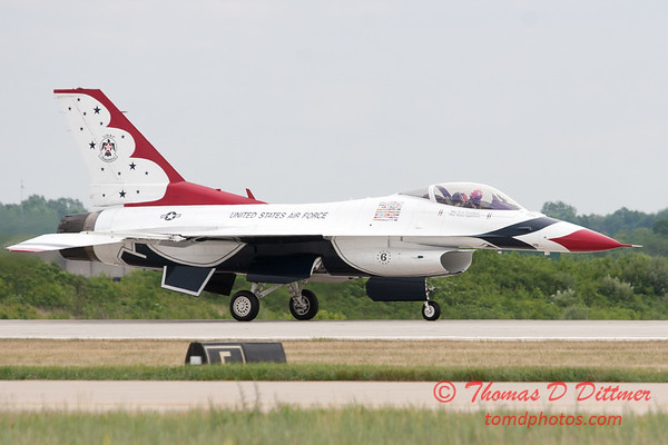 1224 - US Air Force Thunderbirds return to earth after their Sunday performance in F16 Fighting Falcons at the 2012 Rockford Airfest - Chicago Rockford International Airport - Rockford Illinois - Sunday June 3rd 2012