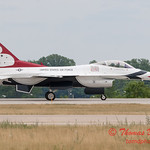 1204 - US Air Force Thunderbirds return to earth after their Sunday performance in F16 Fighting Falcons at the 2012 Rockford Airfest - Chicago Rockford International Airport - Rockford Illinois - Sunday June 3rd 2012