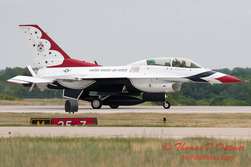1217 - US Air Force Thunderbirds return to earth after their Sunday performance in F16 Fighting Falcons at the 2012 Rockford Airfest - Chicago Rockford International Airport - Rockford Illinois - Sunday June 3rd 2012