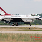 1210 - US Air Force Thunderbirds return to earth after their Sunday performance in F16 Fighting Falcons at the 2012 Rockford Airfest - Chicago Rockford International Airport - Rockford Illinois - Sunday June 3rd 2012