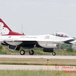1226 - US Air Force Thunderbirds return to earth after their Sunday performance in F16 Fighting Falcons at the 2012 Rockford Airfest - Chicago Rockford International Airport - Rockford Illinois - Sunday June 3rd 2012