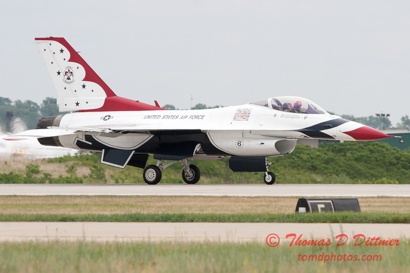 1223 - US Air Force Thunderbirds return to earth after their Sunday performance in F16 Fighting Falcons at the 2012 Rockford Airfest - Chicago Rockford International Airport - Rockford Illinois - Sunday June 3rd 2012