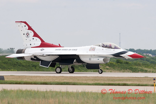 1221 - US Air Force Thunderbirds return to earth after their Sunday performance in F16 Fighting Falcons at the 2012 Rockford Airfest - Chicago Rockford International Airport - Rockford Illinois - Sunday June 3rd 2012