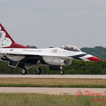1201 - US Air Force Thunderbirds return to earth after their Sunday performance in F16 Fighting Falcons at the 2012 Rockford Airfest - Chicago Rockford International Airport - Rockford Illinois - Sunday June 3rd 2012
