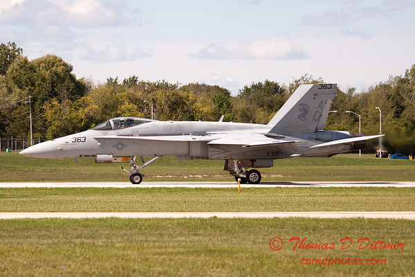 1327 - The VFA 106 Hornet East F/A-18 has landed and will be returning to parking at Wings over Waukegan 2012