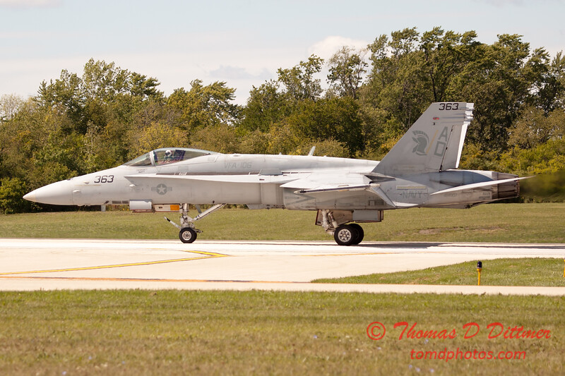 1331 - The VFA 106 Hornet East F/A-18 has landed and will be returning to parking at Wings over Waukegan 2012