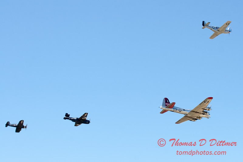 491 - B17 - F4U - P51 - TBM - Special Formation Fly By at the South East Iowa Air Show in Burlington Iowa