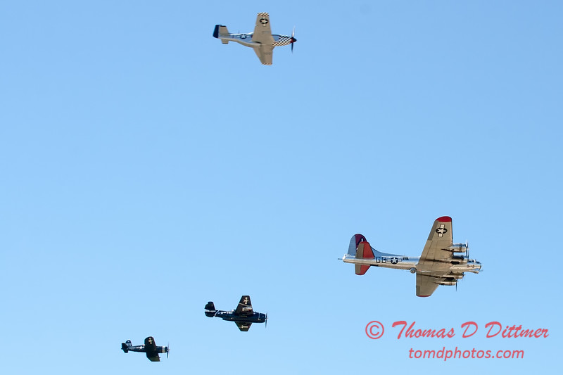 490 - B17 - F4U - P51 - TBM - Special Formation Fly By at the South East Iowa Air Show in Burlington Iowa