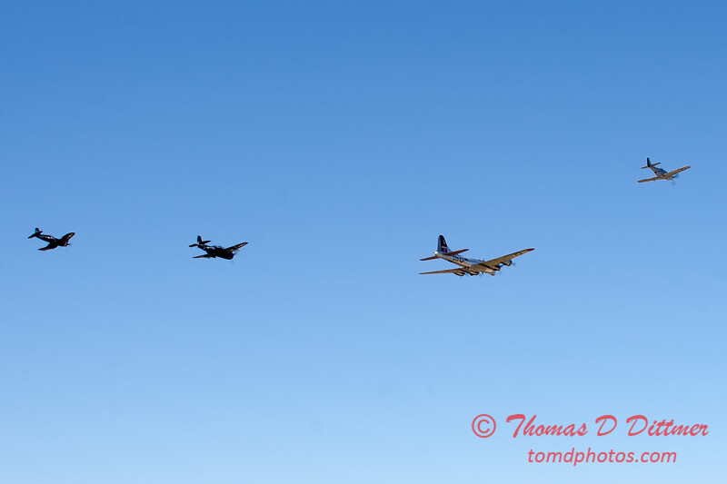 493 - B17 - F4U - P51 - TBM - Special Formation Fly By at the South East Iowa Air Show in Burlington Iowa