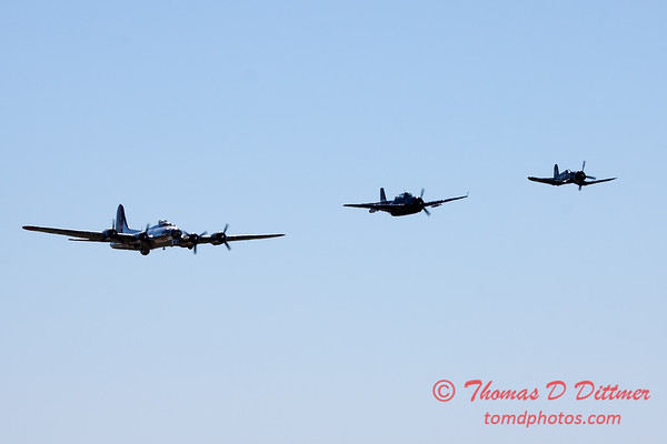 496 - B17 - F4U - TBM - Special Formation Fly By at the South East Iowa Air Show in Burlington Iowa