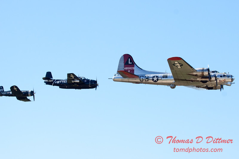 507 - B17 - F4U - TBM - Special Formation Fly By at the South East Iowa Air Show in Burlington Iowa