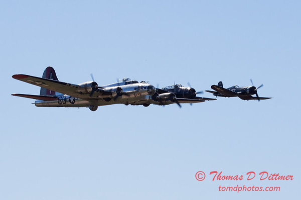 502 - B17 - F4U - TBM - Special Formation Fly By at the South East Iowa Air Show in Burlington Iowa