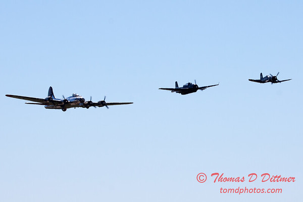 497 - B17 - F4U - TBM - Special Formation Fly By at the South East Iowa Air Show in Burlington Iowa