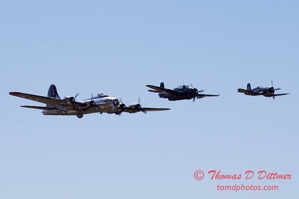500 - B17 - F4U - TBM - Special Formation Fly By at the South East Iowa Air Show in Burlington Iowa