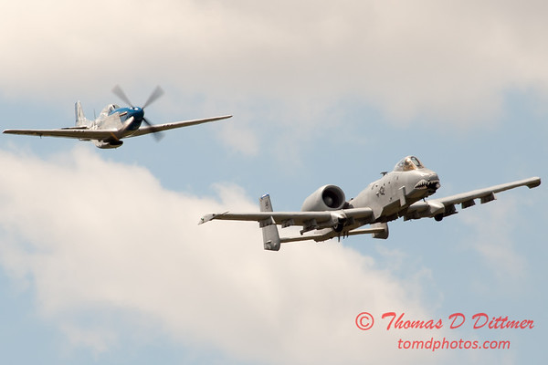 "783 - Vlado Lenoch in his P-51 Mustang and A-10 East in the ""Heritage Flight"" at Wings over Waukegan 2012"