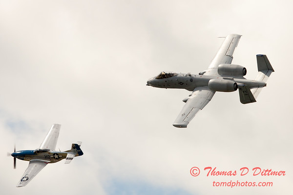 """781 - Vlado Lenoch in his P-51 Mustang and A-10 East in the """"Heritage Flight"""" at Wings over Waukegan 2012"""