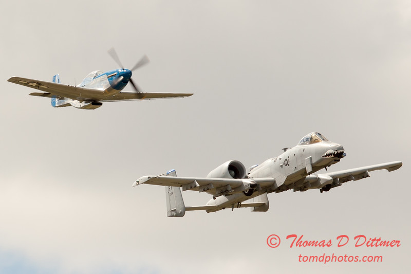 """785 - Vlado Lenoch in his P-51 Mustang and A-10 East in the """"Heritage Flight"""" at Wings over Waukegan 2012"""