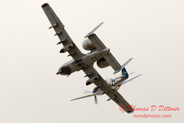 """796 - Vlado Lenoch in his P-51 Mustang and A-10 East in the """"Heritage Break"""" at Wings over Waukegan 2012"""