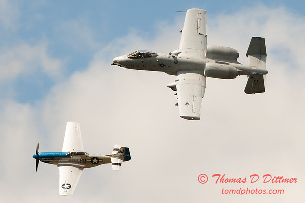 """778 - Vlado Lenoch in his P-51 Mustang and A-10 East in the """"Heritage Flight"""" at Wings over Waukegan 2012"""