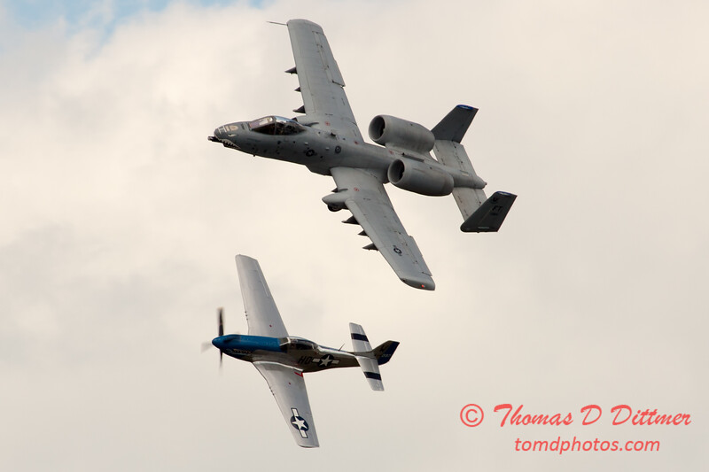 "769 - Vlado Lenoch in his P-51 Mustang and A-10 East in the ""Heritage Flight"" at Wings over Waukegan 2012"