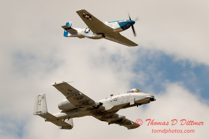 "789 - Vlado Lenoch in his P-51 Mustang and A-10 East in the ""Heritage Flight"" at Wings over Waukegan 2012"