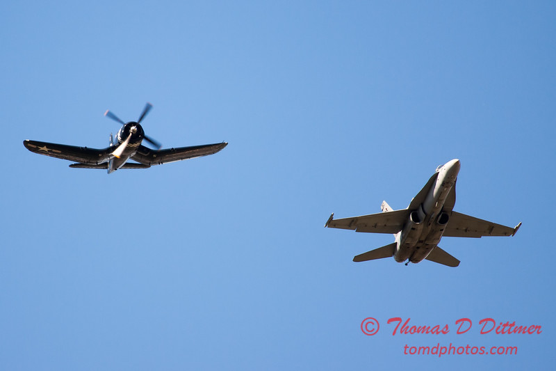 1300 - F4U Corsair and VFA 106 Hornet East F/A-18 US Navy Legacy Flight performing at Wings over Waukegan 2012