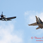1308 - F4U Corsair and VFA 106 Hornet East F/A-18 US Navy Legacy Flight performing at Wings over Waukegan 2012