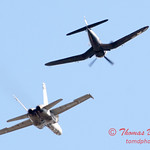 1305 - F4U Corsair and VFA 106 Hornet East F/A-18 US Navy Legacy Flight performing at Wings over Waukegan 2012