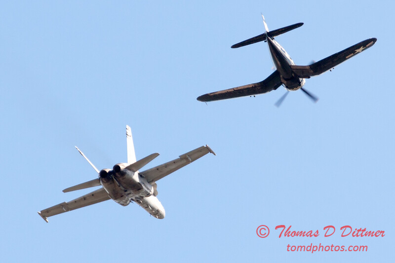 1303 - F4U Corsair and VFA 106 Hornet East F/A-18 US Navy Legacy Flight performing at Wings over Waukegan 2012