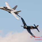 1287 - F4U Corsair and VFA 106 Hornet East F/A-18 US Navy Legacy Flight performing at Wings over Waukegan 2012
