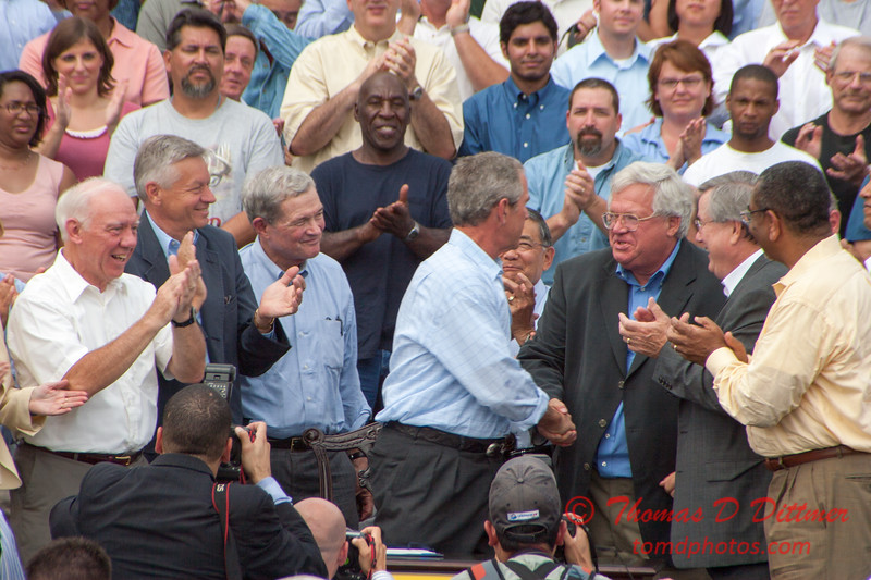 75 -President George W Bush signs the Transportation bill into law at the Caterpillar Plant located in Montgomery Illinois - August 2005