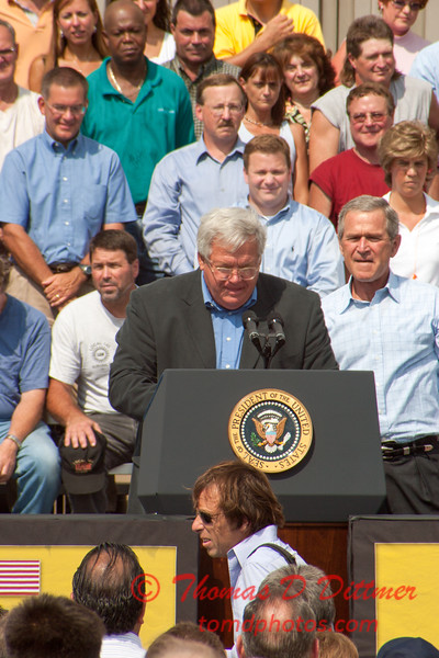 44 -President George W Bush signs the Transportation bill into law at the Caterpillar Plant located in Montgomery Illinois - August 2005