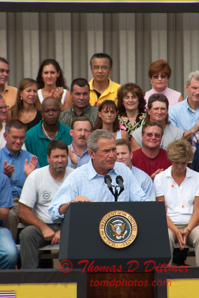 67 -President George W Bush signs the Transportation bill into law at the Caterpillar Plant located in Montgomery Illinois - August 2005