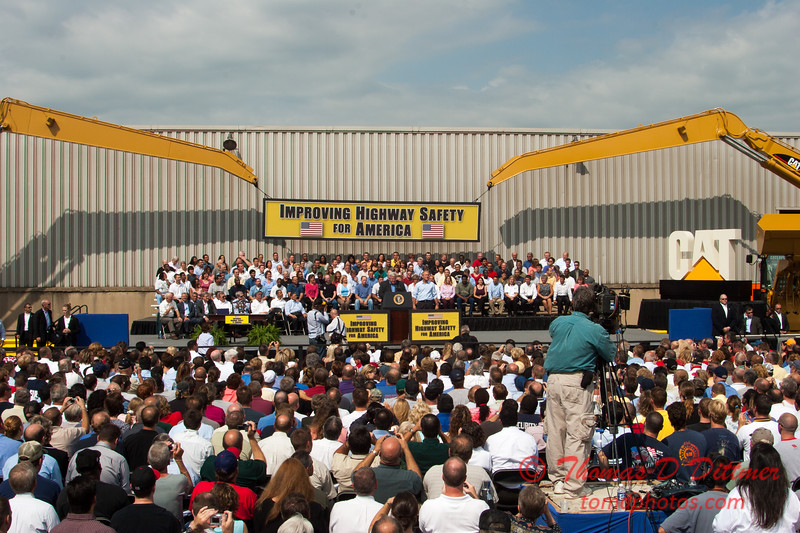 46 -President George W Bush signs the Transportation bill into law at the Caterpillar Plant located in Montgomery Illinois - August 2005