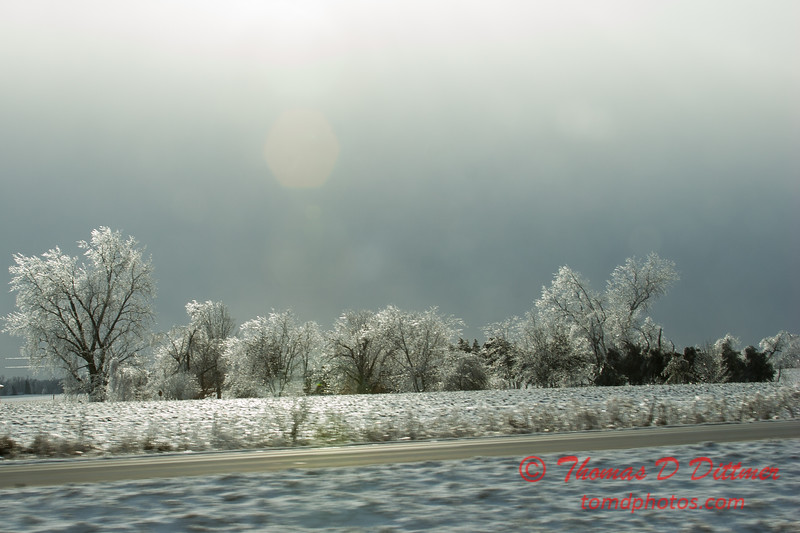1 - A view of ice covered vegetation and aftermath of a winter storm viewed during the morning commute from Normal Illinois to Peoria Illinois. Westbound Interstate 74 - Sunday December 21st 2008