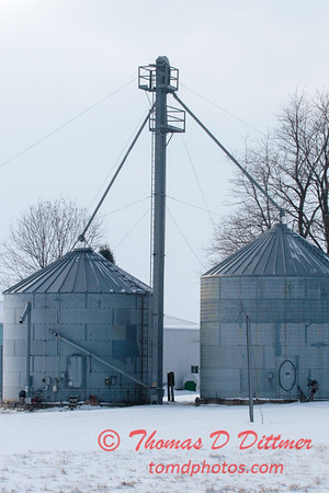 Storage Elevator on a winter day in rural McLean County Illinois