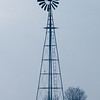 Lonely windmill on a winter day in rural McLean County Illinois