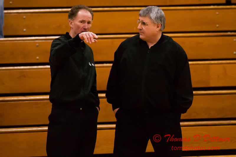 2 - Referees waiting for the Normal Community Ironmen vs Decatur Eisenhower Panthers Junior Varsity Basketball game at Stephen Decatur Middle School