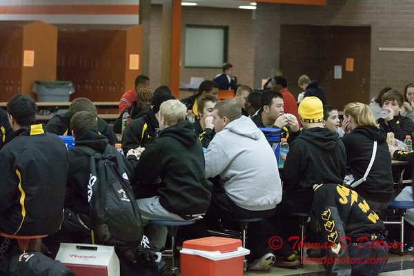 1 - High school wrestlers at breakfast prior to the 33rd Annual Marty Williams Bulldog Wrestling Invitational at Mahomet Seymour High School in Mahomet Illinois